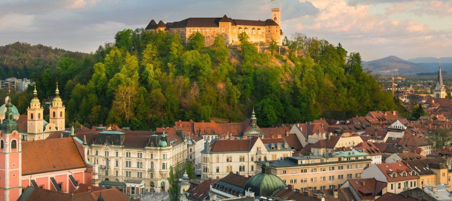 E7HB2F Panorama of Ljubljana, Slovenia, Europe.